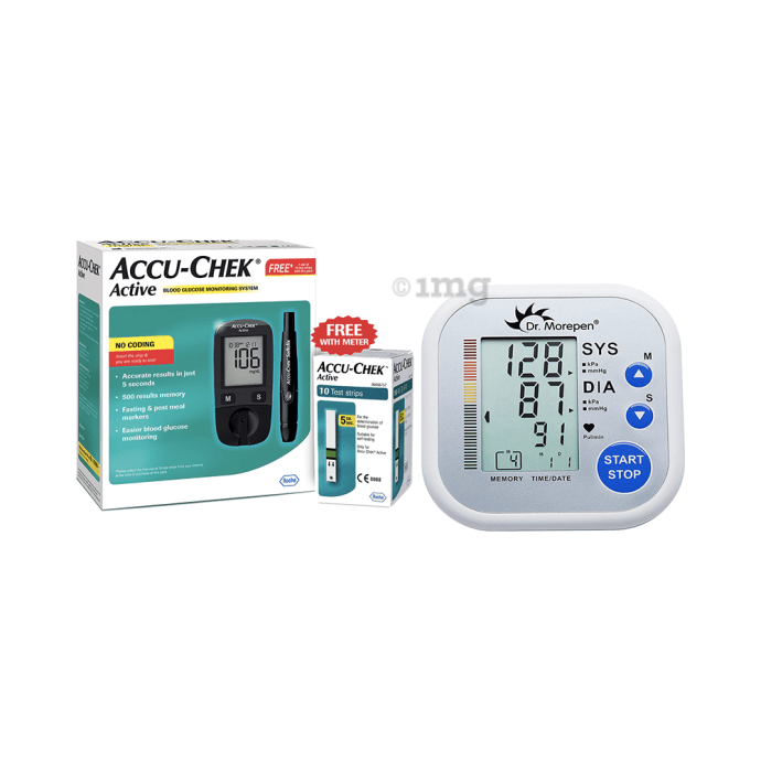 BP and Glucose Meter Combo of Accu-Chek Active Blood Glucometer Kit (Box of 10 Test Strips Free) and Dr Morepen BP02 Blood Pressure Monitor