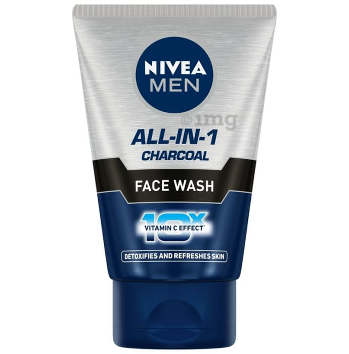 Nivea All-In-1 Face Wash Charcoal 10X Vitamin C Detoxifies and Refreshes Skin
