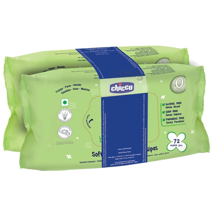 Chicco Soft Cleansing Baby Wipes Pack of 2