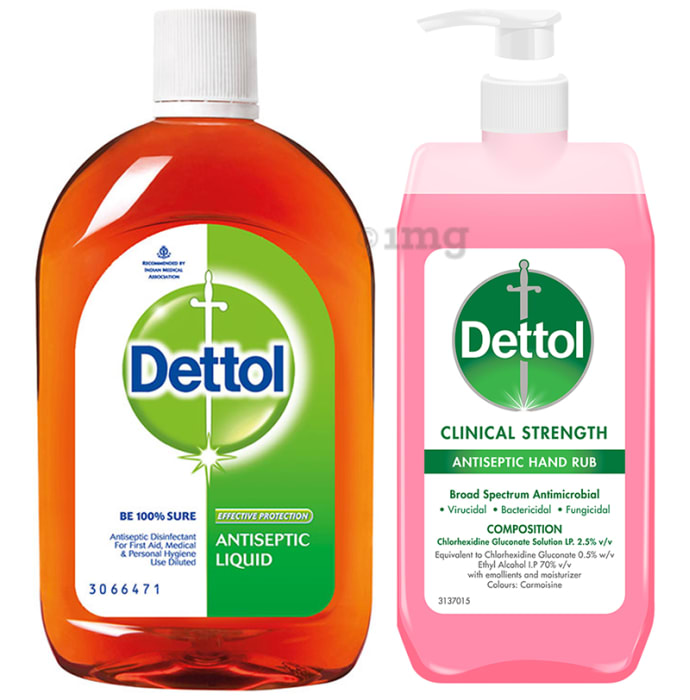 Dettol Combo Pack of Antiseptic Liquid 550ml & Clinical Strength Antiseptic Hand Rub Sanitizer 500ml