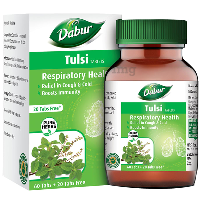 Dabur Pure Herbs Respiratory Health Tulsi Tablets - Get 20 Tablets Free