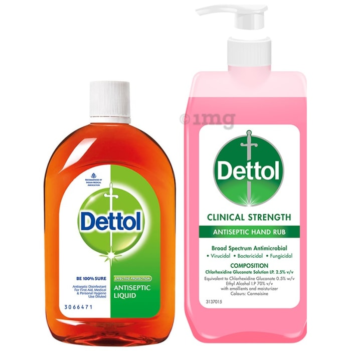 Dettol Combo Pack of Antiseptic Liquid 250ml & Clinical Strength Antiseptic Hand Rub Sanitizer 500ml