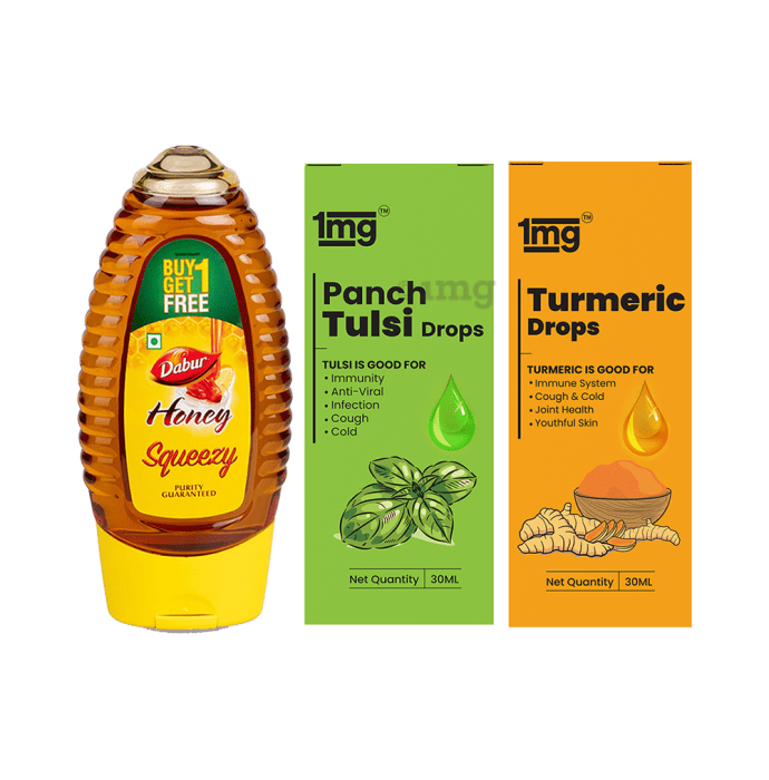 Warm Milk Mix Recipe of 1mg Turmeric Drops with Piperine 30ml, 1mg Panch Tulsi Drops 30ml and Dabur Honey Squeezy Buy 1 Get 1 Free 225gm