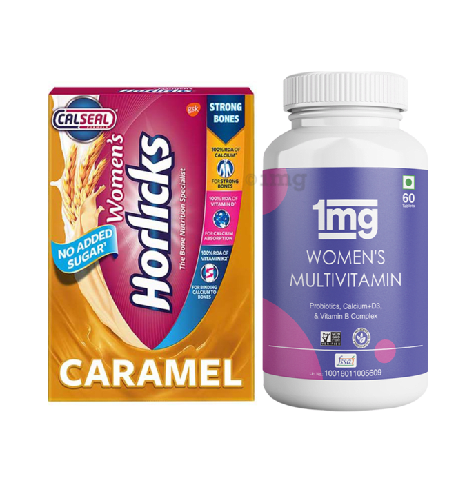 Women Health Combo of 1mg Women's Multivitamin 60 Tablet and Women's Horlicks Health and Nutrition Drink Caramel Refill 400gm