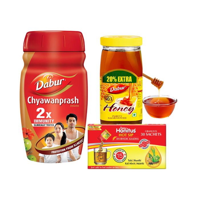 Dabur Winter Immunity Combo of Chyawanprash Awaleha 1Kg, Honey 1Kg and Honitus Hot Sip Ayurvedic Kaadha (30 Sachet)
