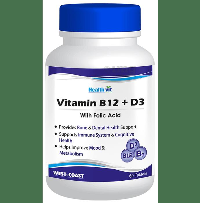 HealthVit Vitamin B12 + D3 with Folic Acid Tablet