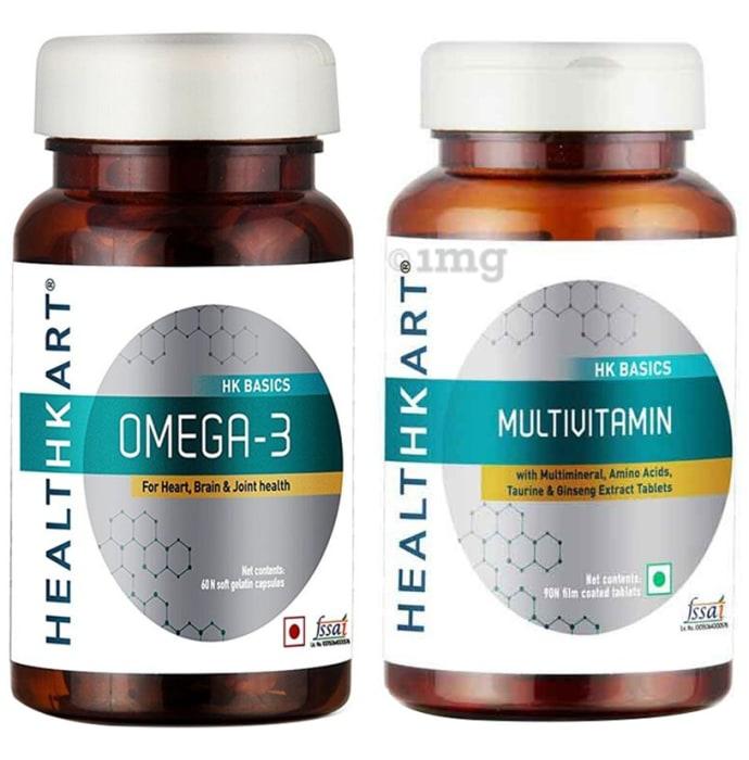 Multivitamin & Omega-3 Combo of HealthKart Multivitamin 90 Tablet and HealthKart Omega3 90 Soft Gelatin Capsule
