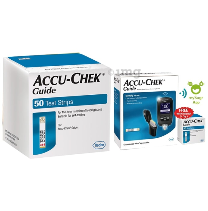Accu-Chek Guide Combo of Blood Glucose Monitoring System with 10 Test Strips Free and 50 Test Strips