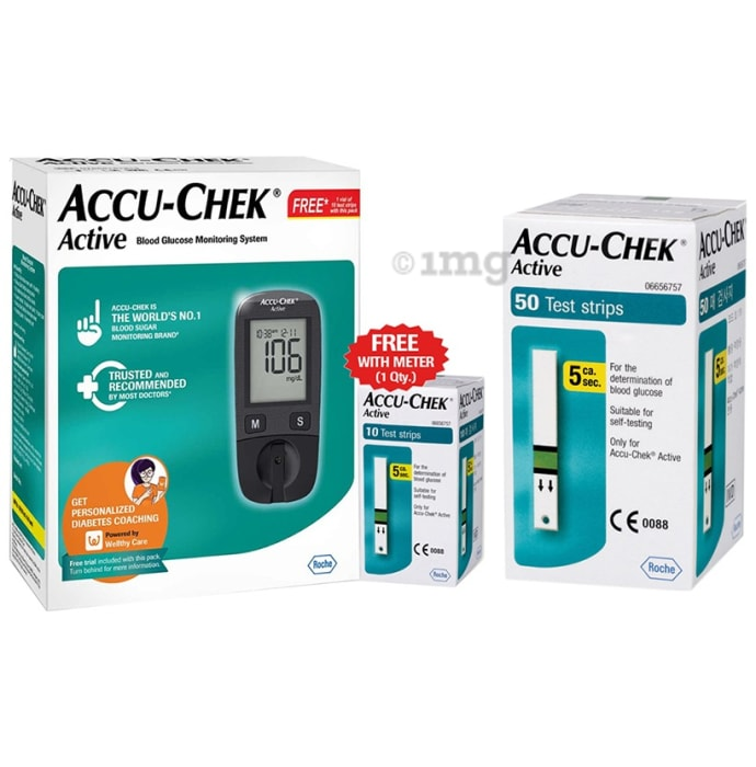 Accu-Chek Active Combo of Glucometer with 10 Test Strip Free and 50 Test Strips