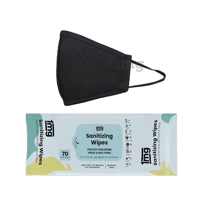 1mg Virus Protection Combo of Sanitizing Wipes & Reusable Face Mask for Adult