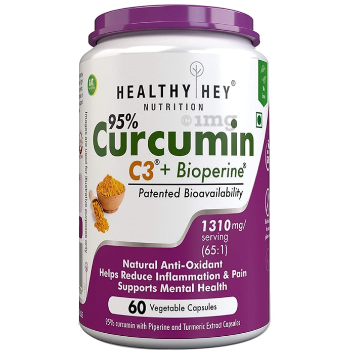 HealthyHey Curcumin with Bioperine1300mg Vegetable Caps With Piperine