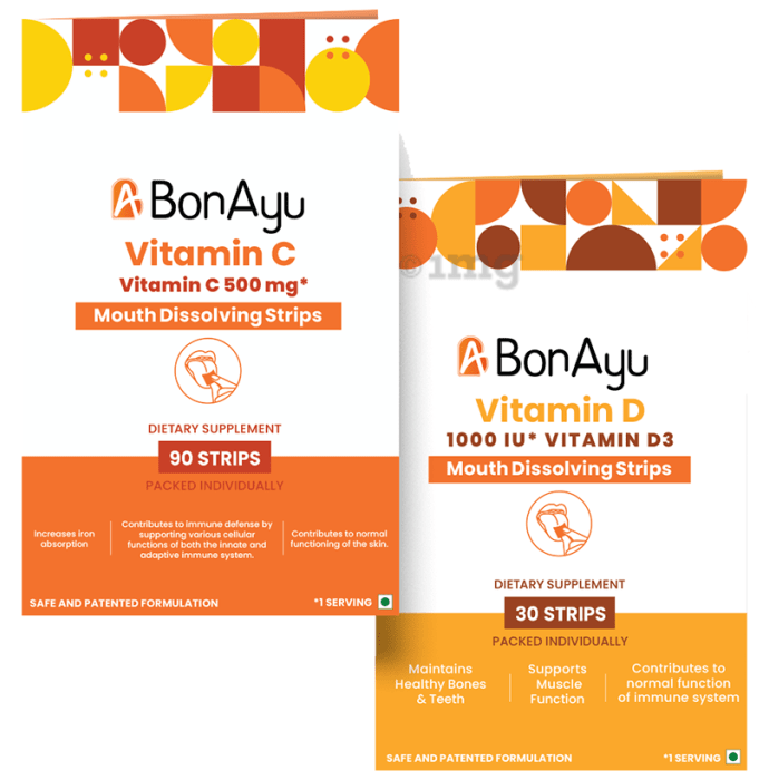 BonAyu Immunity Booster Pack (Vitamin C 90 Strip + Vitamin D 30 Strip)