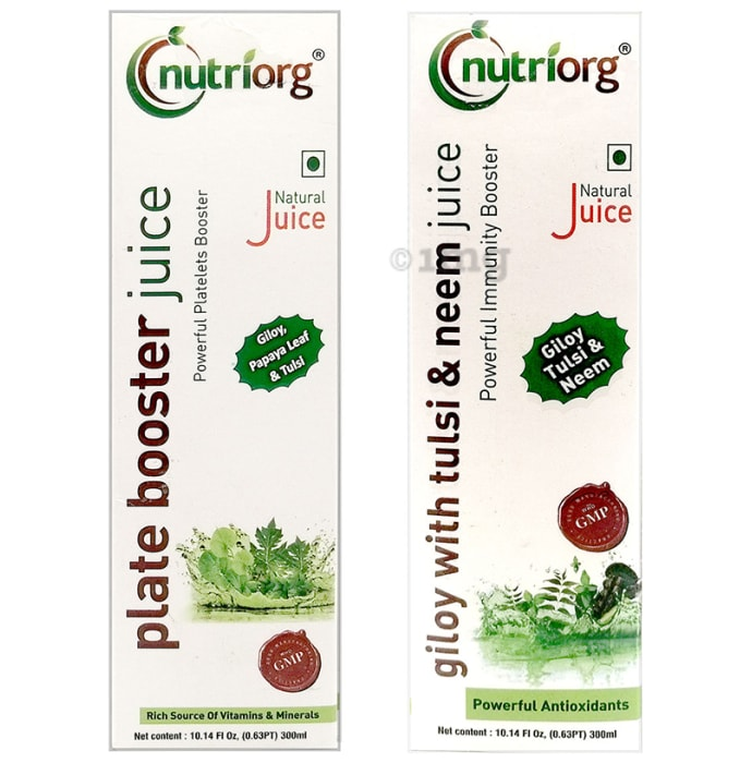Nutriorg Combo Pack of Plate Booster Juice & Giloy with Tulsi & Neem Juice (300ml Each)
