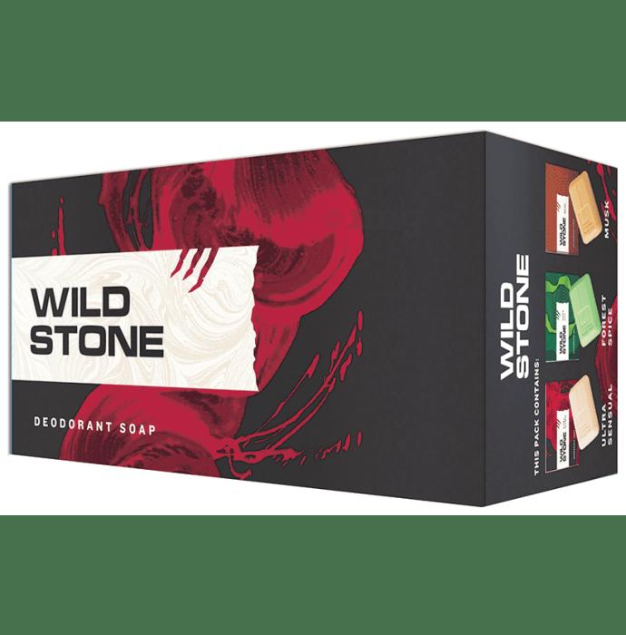 Wild Stone Deodorant Soap (100gm Each) 2 Forest Spice, 2 Ultra Sensual, 2 Musk