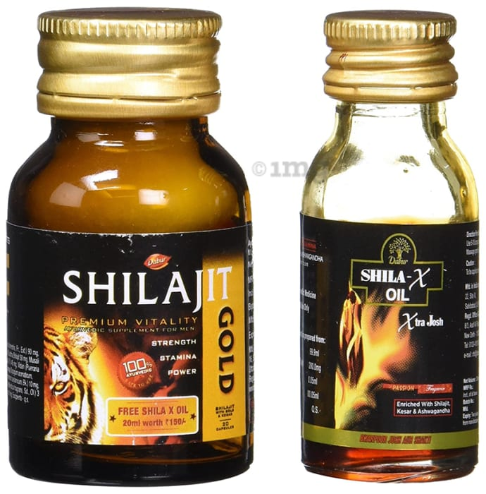 Dabur Shilajit Gold 20 Capsules with Shila X Oil 20ml Free