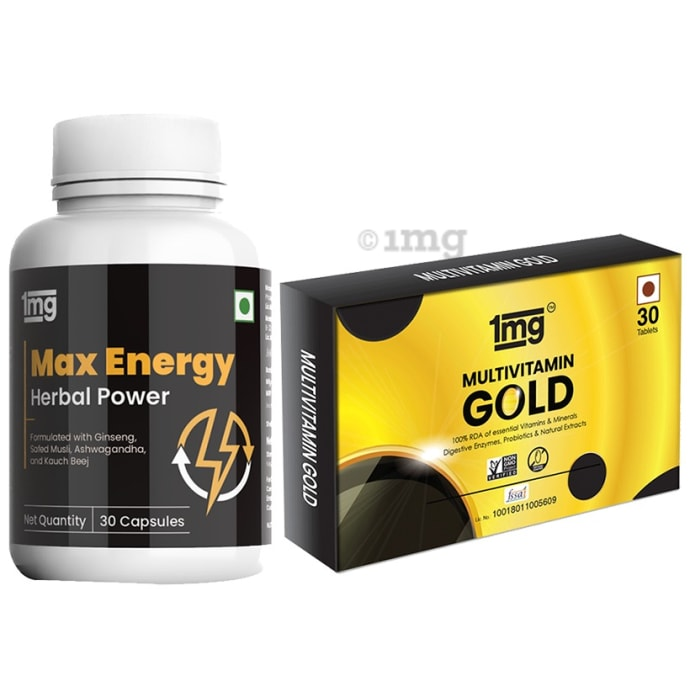 1mg Combo Pack of Max Energy 30 Capsule and Multivitamin Gold 30 Tablet