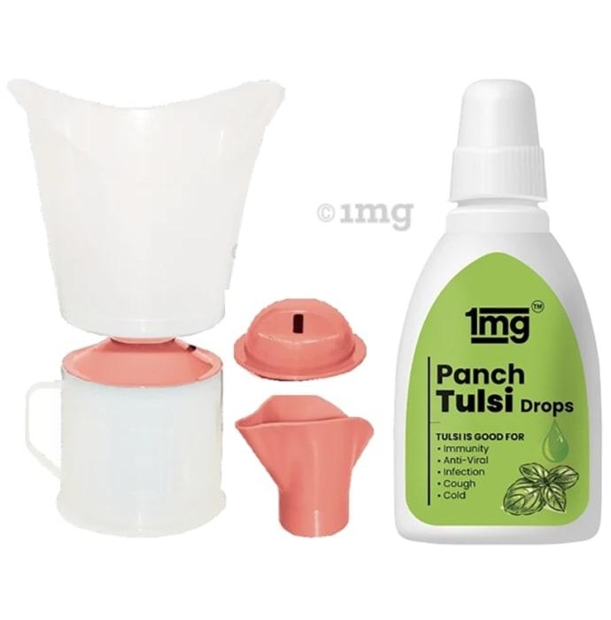 1mg Combo Pack of Vaporizer Steam Inhaler 3 in 1 Facial Sauna, Nasal Inhaler & Steamer and Panch Tulsi 30ml Drops