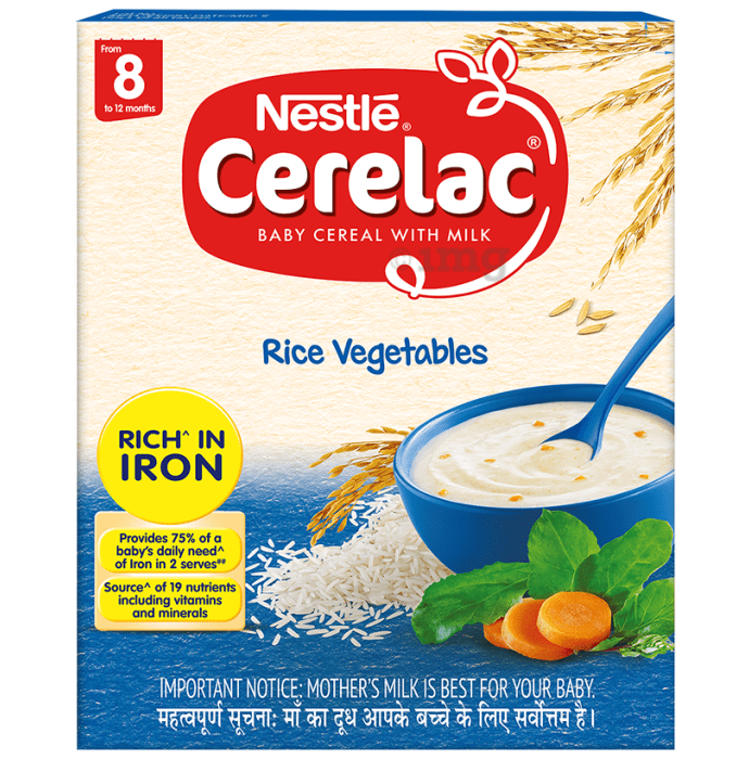 Nestle Cerelac Fortified Baby Cereal with Milk 8 Months+ Rice Vegetable