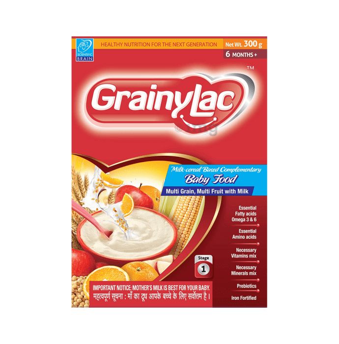 GrainyLac Multi Grain Multi Fruit with Milk Baby Food 6 Month Plus