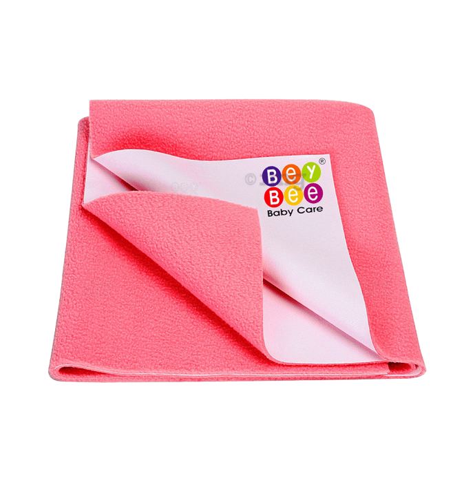 Bey Bee Waterproof Baby Bed Protector Dry Sheet for Toddlers (100cm X 70cm) M Salmon Rose