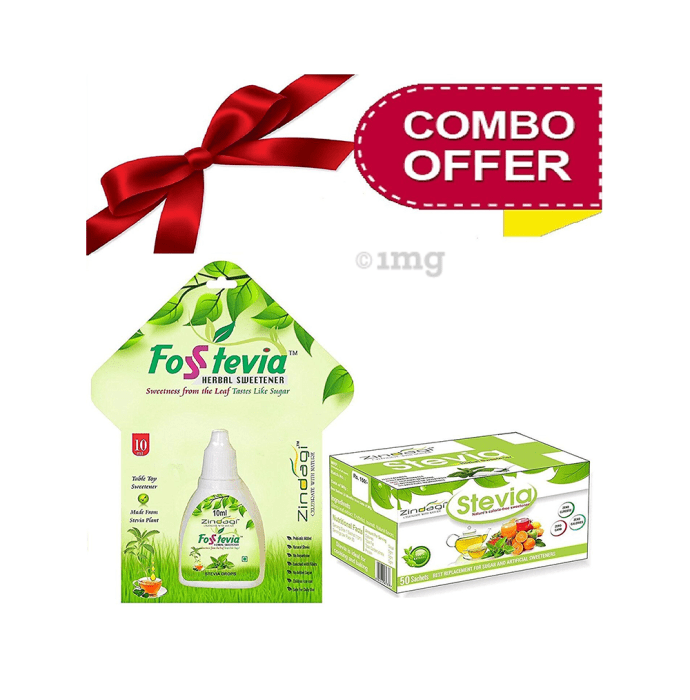 Zindagi Combo Pack of Stevia Drops (10ml) and Stevia Sachet (50)