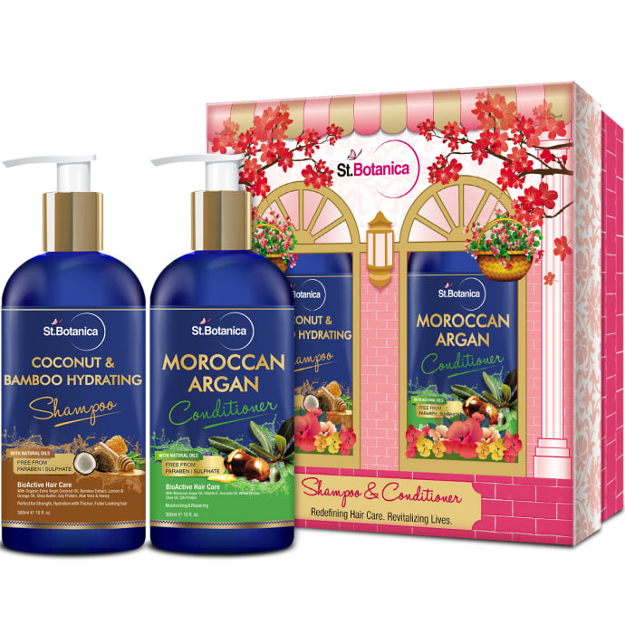 St.Botanica Combo of Coconut & Bamboo Hydrating Shampoo 300ml and Moroccan Argan Conditioner 300ml