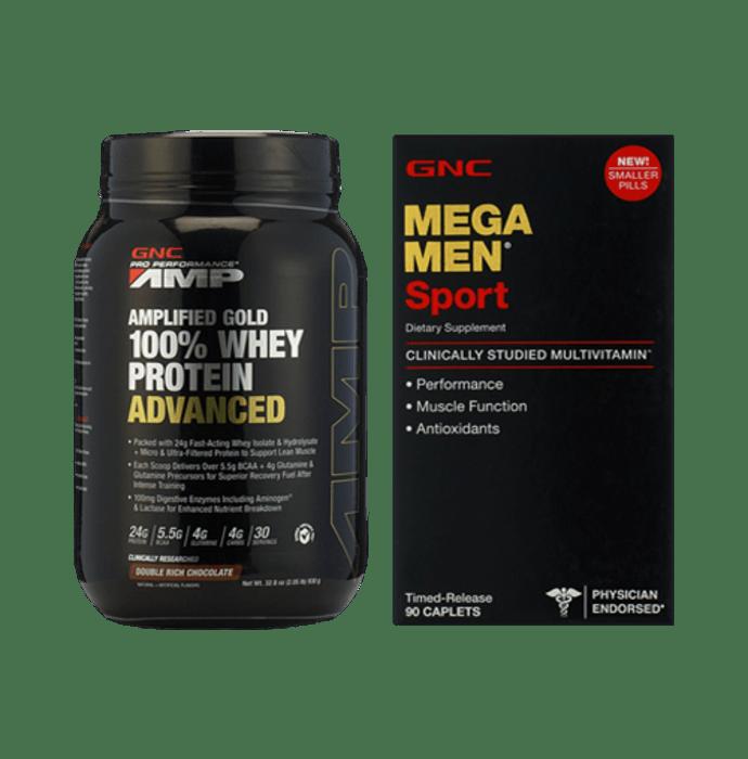 GNC Amp Gold 100% Whey Protein Advanced Chocolate Powder with Mega Men Sports Caplets