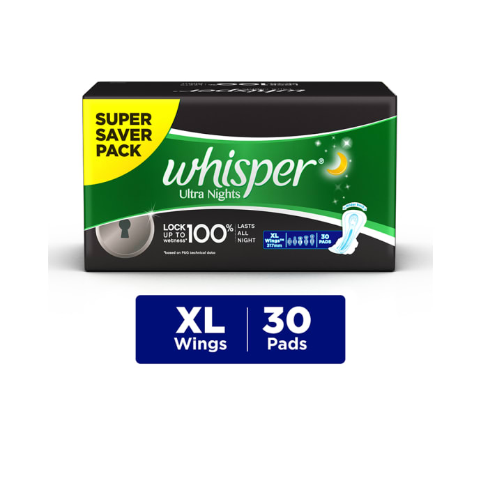Whisper ultra nights wings sanitary pads xl: buy whisper ultra ...