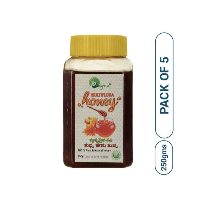 Pragna Multiflora Pure & Natural Honey Pack of 5