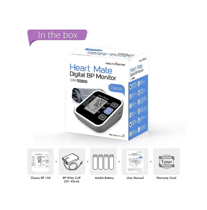 Health Sense Heart Mate Classic BP 120 Digital BP Monitor Black
