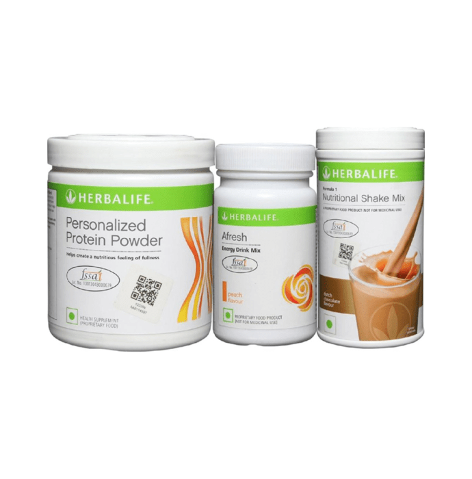 Herbalife Formula 1 500gm (Chocolate), Personalizes Protein Powder 200gm and Afresh Energy Drink Mix 50gm (Peach) Combo