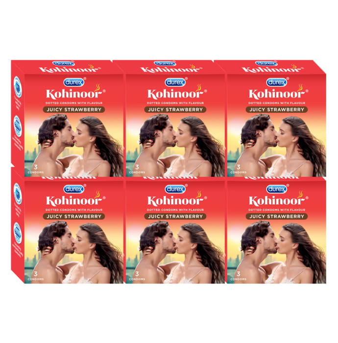 Durex Kohinoor Condom Juicy Strawberry Pack of 6