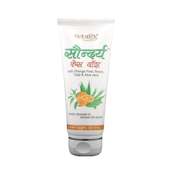 Patanjali Ayurveda Saundraya Orange Peel, Neem, Tulsi & Aloe Vera Face Wash Pack of 7