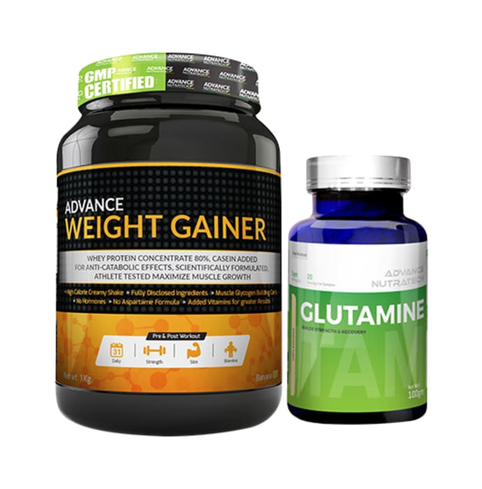 Advance Nutratech Combo of Weight Gainer  Banana 1kg Sugar Free and Glutamine Supplement Powder Unflavored 100gm