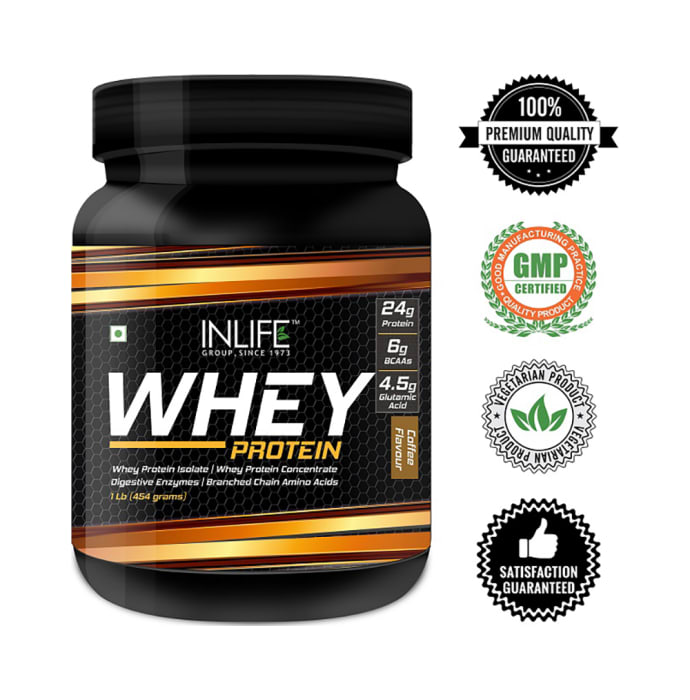 Inlife Whey Protein Powder Blend of Isolate Hydrolysate Concentrate Body Building Supplement Coffee