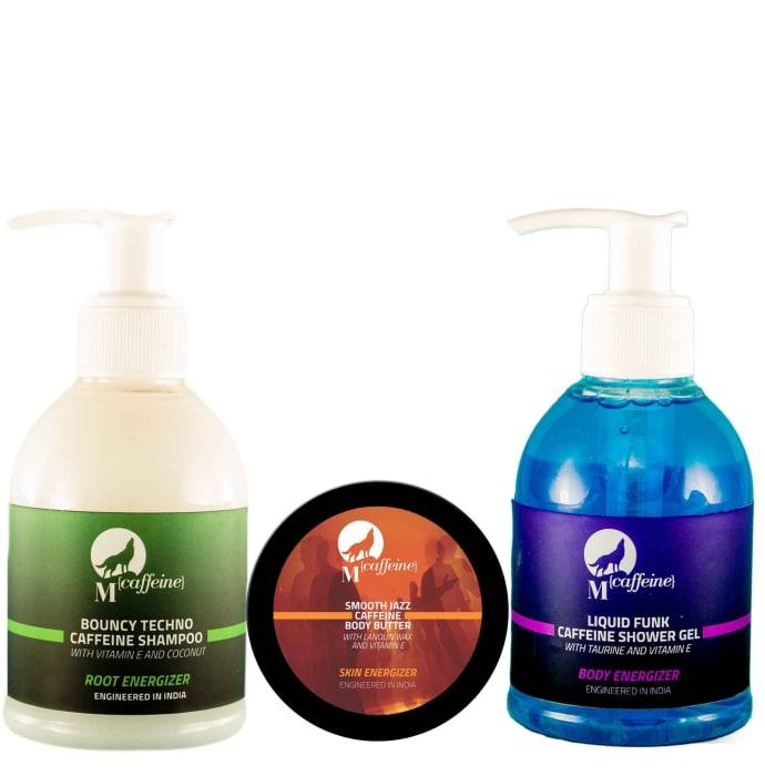 Mcaffeine Morning Charger  (Shampoo- 150Ml, Shower Gel- 150Ml, Body Butter- 50ml) Pack