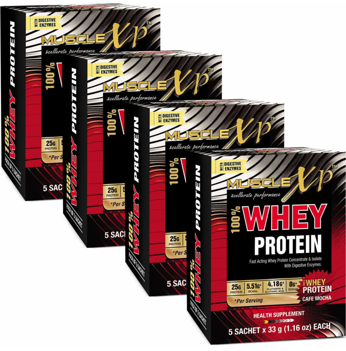 MuscleXP 100% Whey Protein with Digestive Enzymes 33g Sachet Cafe Mocha Pack of 4