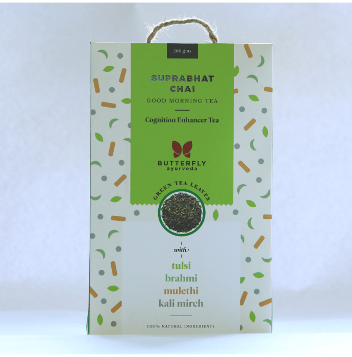 Butterfly Ayurveda Suprabhat Chai Green Tea Leaves with Tulsi