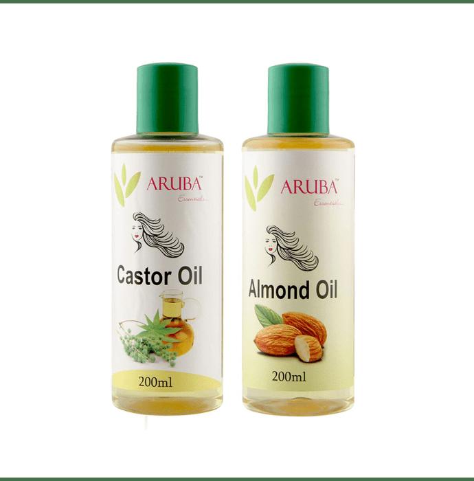 Aruba Essentials Combo Pack of Castor Oil 200ml & Almond Oil 200ml