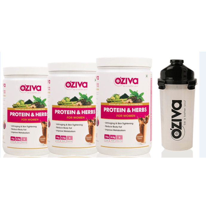 Oziva Protein & Herbs for Women 1kg (Pack OF 3), Chocolate with Free Shaker