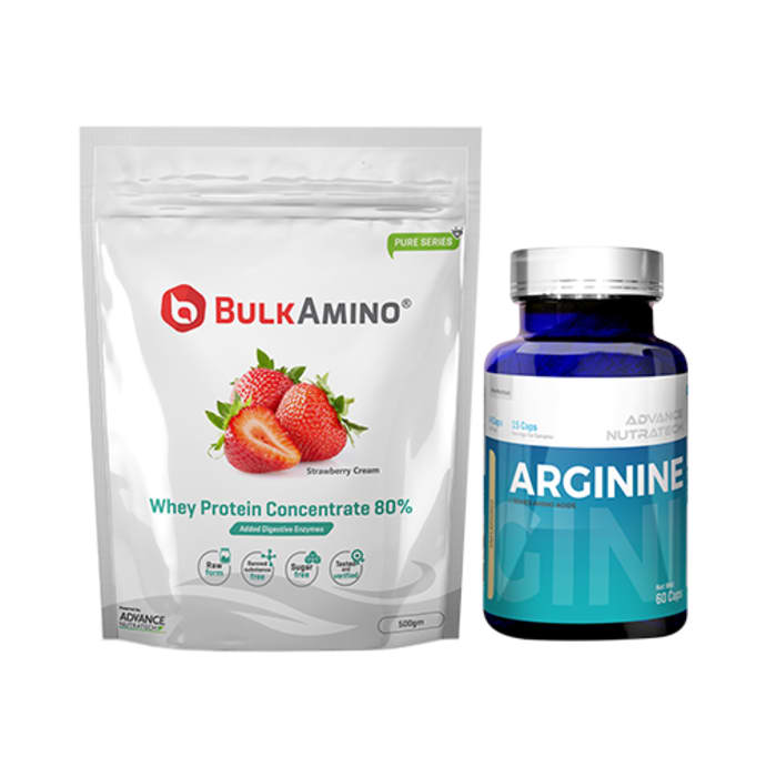Advance Nutratech Combo of BulkAmino Whey Protein Concentrate 80% Strawberry Cream 500gm Supplement Powder and Arginine Aminos Pre-Workout 60 Capsules