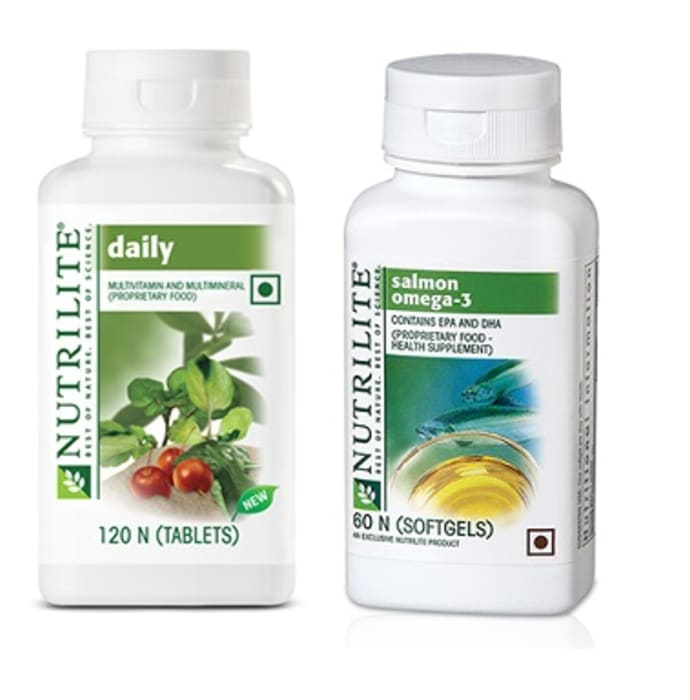 Amway Nutrilite Daily Multivitamin 120 Tablet with Salmon Omega 60 Softgels