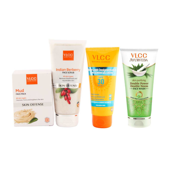 VLCC Mud Face Pack, Indian Berberry Face Scrub, Matte Look Sun Screen Gel Creme and Double Neem Face Wash Combo (250gm)