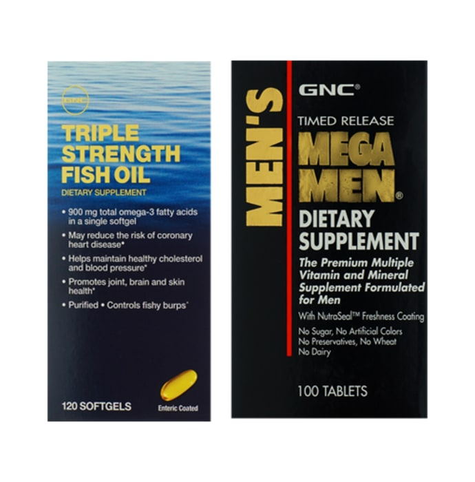 GNC Triple Strength Fish Oil Softgels with Mega Men Tablet