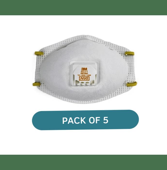 3M N95 8511 Respirator Mask White Pack of 5