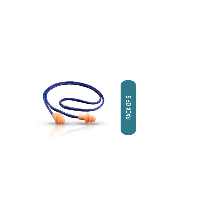 3M 1270 Corded Reusable Noise Reduction Earplug Pack of 5