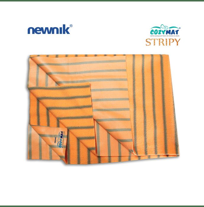 Newnik Cozymat Stripy Soft (Broad Stripes), Waterproof, Reusable Mat / Underpad / Absorbent Sheet / Mattress Protector (Size: 70cm X 100cm) Medium Butterscotch