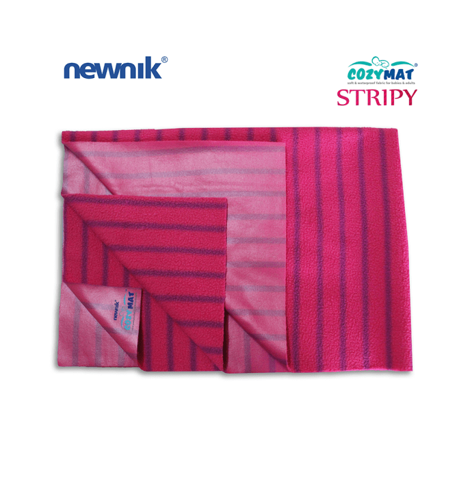 Newnik Cozymat Stripy Soft (Broad Stripes), Waterproof, Reusable Mat / Underpad / Absorbent Sheet / Mattress Protector (Size: 140cm X 200cm) Extra Large Ruby
