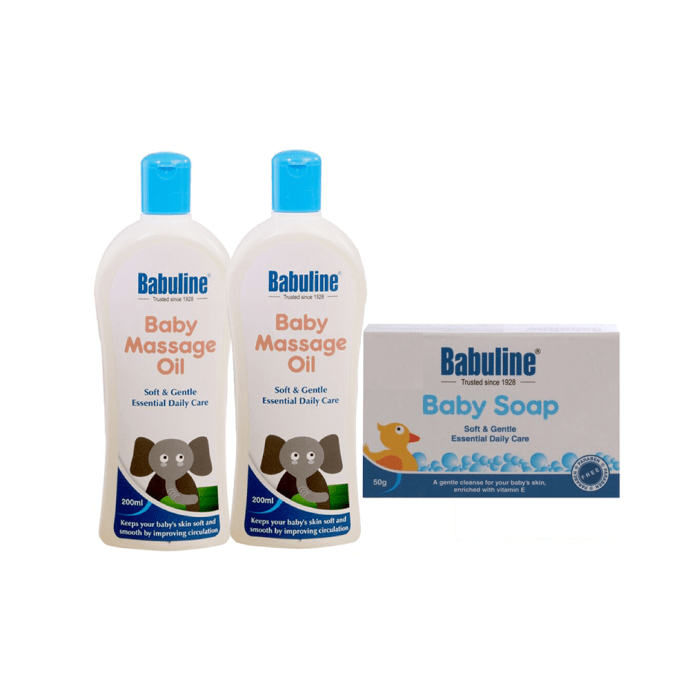 Babuline Combo Pack of Baby Massage Oil 200ml (Pack of 2) with Free Mini Soap for Baby