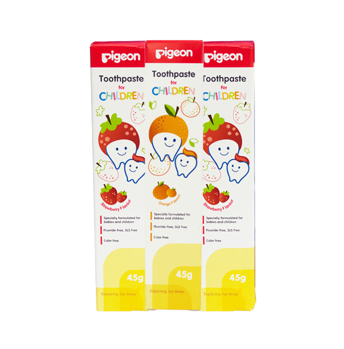 Pigeon Combo of Children Toothpaste Strawberry (2Pc) & Orange (1Pc)